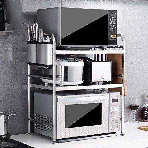 MENA HOME/ Edelstahl-Mikrowellenherd-Regal-Küche-Regal 3 Schichten Ofen-Regalspeicher-Zahnstange 58 lang -