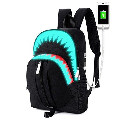 Kaxima Laptop Rucksack, leuchtende USB-Funktion Doppel Umhängetasche, große Klappe Hai Rucksack, Student outdoor Wandern, Tasche (Klappe Übergroße)