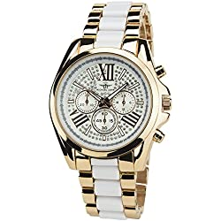 MICHAEL JOHN -Women's Watch White PinkQuartz Pinkcase Steel Analogue Display Band Steel