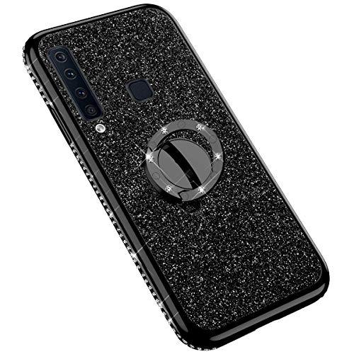 Uposao Kompatibel mit Samsung Galaxy A9 2018 Handyhülle mit 360 Grad Ring Ständer Glitzer Bling Strass Diamant Mädchen TPU Silikon Clear Hülle Schutzhülle Durchsichtig Tasche Case,Schwarz