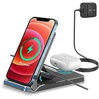 EXW Kabelloses Ladegerät, Faltbare Wireless Charger 3 in 1 Induktive Ladestation mit Adapter, Kompatibel für AirPods Pro…