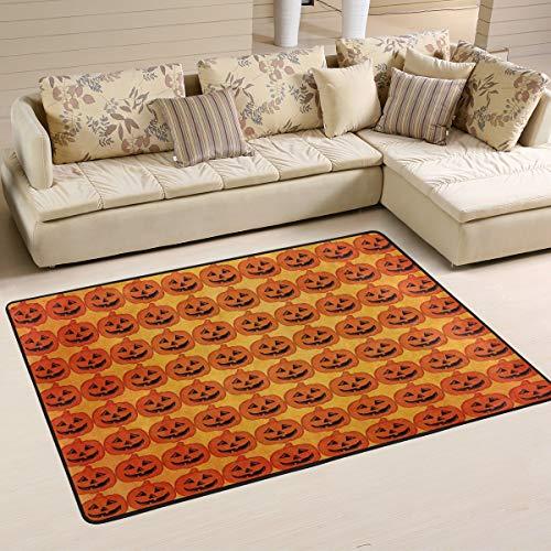 DEZIRO Halloween-Kürbis-Muster, lustige Fußmatte für Eingangsbereich, Fußmatten für Zuhause, Schuhe, Schaber, rutschfest, waschbar, Polyester, 1, 72 x 48 inch