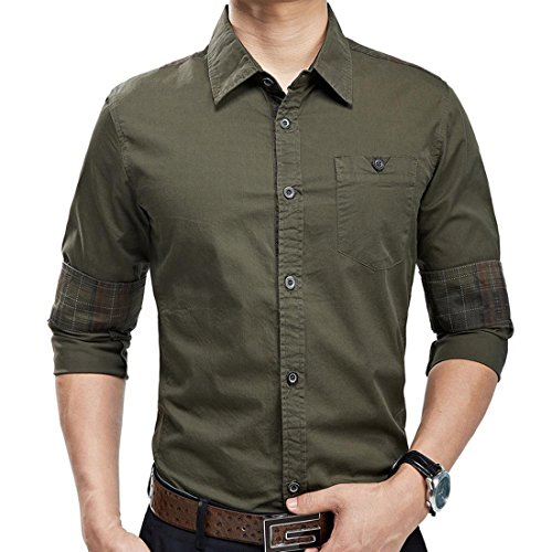 Jeansian Hommes Fashion Shirt Chemises Casual Manches Longues Solid Color Men's Casual Shirt Slim Fit Tops MCF011 ArmyGreen