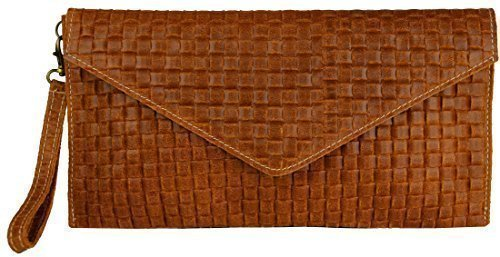 "Bags4Less ""Veneziana"" Clutch / Borsetta da sera / Borsa donna in vera Pelle (28cm Larghezza x 16,5 cm Altezza) - Di Vimini Marrone Scuro, S Di Vimini Marrone Scuro"