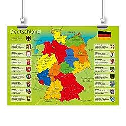 nikima - Kinder Lernposter Deutschland mit Bundesländern - Plakat für Kindergarten Schule Schulanfang Schuleintritt Einschulung Kinderzimmer Deutschlandkarte - Größe DIN A2-594 x 420 mm