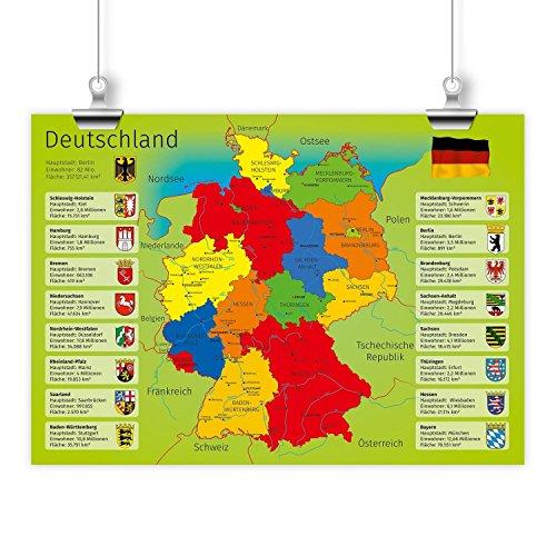 nikima - Kinder Lernposter Deutschland mit Bundesländern - Plakat für Kindergarten Schule Schulanfang Schuleintritt Einschulung Kinderzimmer Deko Wandbild - Größe DIN A2-594 x 420 mm