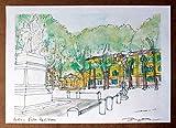 Lucca,Piazza Napoleone- Original Druck, erstellt vom Künstler Davide Pacini - Größe cm 29,7x21 cm, Material, A4-Druckpapier, 80g / m² - Hergestellt in Italien, Toskana, Lucca.