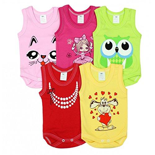 Baby Achselbody mit Aufdruck 100% Baumwolle Body Maedchen Babybody Jungen 5er Pack, Farbe: Maedchen, Gr.: 80