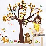 Swiftswan Baby Kinderzimmer Dekorative Wand Kunst Aufkleber Decals, Einzigartige Wald Tier Giraffe Affe Eulen Baum Wand Aufkleber Wandbild Aufkleber