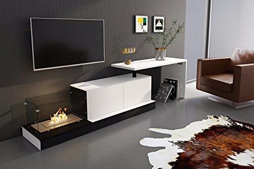 Comfort Home Innovation- Moderne ausziehbare Wohn-/Esszimmermöbel mit Kamin und Schreibtisch, Matt Weiß und glänzend Weiß Lackiert, Maße: Breite von 196cm bis 267cm, Höhe 71cm, Breite 50cm.