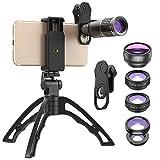 Apexel Kit de Lentes de cámara - Lente de telefoto 16X telefónico/Gran Angular/Macro/Ojo de pez/CPL/Starburst + trípode, Lente de teléfono 6 en 1 para la mayoría de los teléfonos