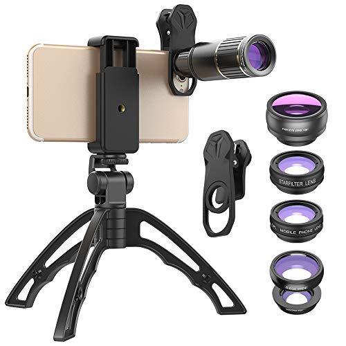 Apexel Handy-Kamera-Objektiv, Teleobjektiv-Zoomobjektiv aus Metall 16X / Weitwinkel/Makro / 198°Fisheye/CPL/Starburst-Objektiv mit Handyhalter + Stativ, 6-in-1-Objektiv für das meiste Smartphone - Starburst-objektiv