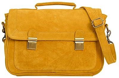 """Gusti Cuir studio """"Mathilda"""" sac à bandoulière sac à main femmes sac avec anse sac porté épaule en cuir véritable sac en cuir cabas besace en cuir femmes filles jaune 2H35-26-10"""