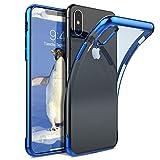CoolGadget Apple iPhone X Hülle, Ultra Thin Tasche Cover Schlank Weich Flexibel Anti-Kratzer Schutzhülle Abdeckung Case, Dursichtiges Silikon Crome Bumperr für iPhone X Blau-Case