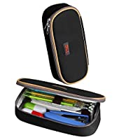 Eastever Pencil Case, Large Capacity Multifunctional Pen bag Makeup Pouch, Durable Students Stationery Supplies Pencil bag with Double Zipper, Black