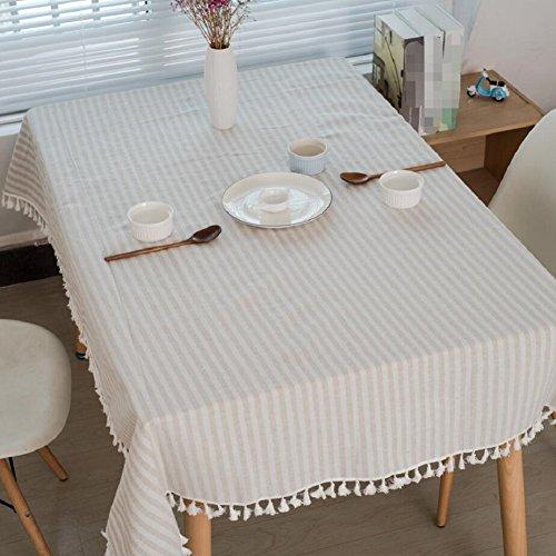 LF&F Nappe Rectangulaire Style Moderne Nappes Pompon Bande Simple Simple MatéRiau De Lin Linge De Table Serviettes Table Adapté pour Les Loisirs Maison Restaurants CaféS HôTels FêTe B 140 * 200cm