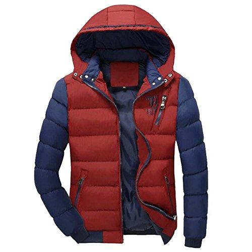 Highdas Winter Jacke Herren Warm Daunen Jacke Gepolsterter Parka Mantel Rot Blau