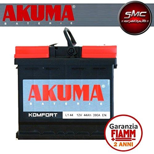 BATTERIA AUTO AKUMA by FIAMM Energy Technology s.p.a. cod L144 KOMFORT 44Ah 360A Polo Positivo a Dest