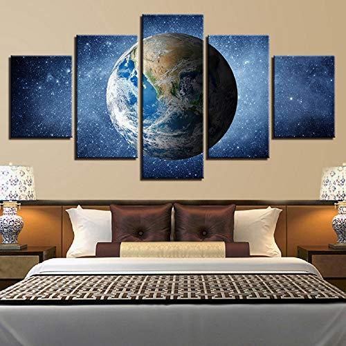 (Rjjdd Leinwandbilder Hd Drucke Home Wandkunst Dekor 5 Stücke Universum Erde Planet Paintings Weltraum Poster Wohnzimmer Rahmen-20Cmx35,with Frame)