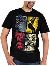 "Game of thrones targaryen ""lannister stark baratheon blason distressed t-shirt noir produit sous licence"