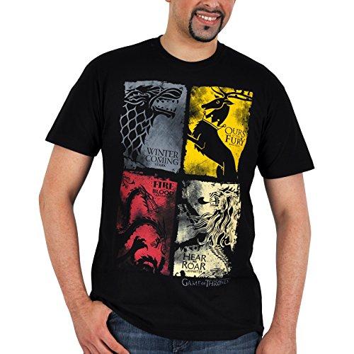 Game of Thrones Lannister Stark Targaryen Baratheon Wappen distressed T-Shirt schwarz Elbenwald lizenziert - M - Wappen Schwarzes T-shirt