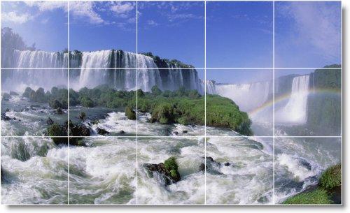CASCADAS FOTO TILE MURAL W057  18X 30CM CON (15) 6X 6AZULEJOS DE CERAMICA