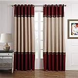 GWELL Luxus Elegant Vorhang Blickdicht Schal mit Ösen TOP QUALITÄT Gardine für Wohnzimmer Schlafzimmer blau rot braun 1er-Pack