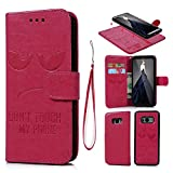 S8 Leather Wallet Case,Multi-function 2-in-1 Magnetic Separable Removable PU Leather Wallet Case Flip Cover With Credit Card Slots Cash Clip Case for Samsung Galaxy S8 [Embossed Don't Touch My Phone Case] - Rose Red