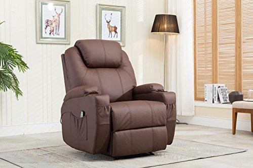 MCombo Massagesessel Fernsehsessel Relaxsessel mit Vibration+Heizung Braun -