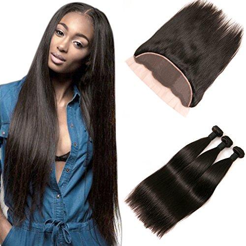Peruvian Human Hair Straight 3 Bundles Mit Silk Lace Frontal Ear To Ear Top Closure Langes Echt Haare Verlängerung Weft Remy Extensions Echthaar Zum Einnähen Schweißen Dickes Haar 18 20 22 +16 Frontal -