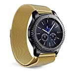 Higar Milanese Loop Strap with Magnetic Lock Buckle Wrist Band for LG G Watch Urbane W150/W110, Pebble Time / Time Steel and Samsung Gear S3 - Gold colour. Please note that watch is not included.Quick Release Pins included with this band.Size - 22mm