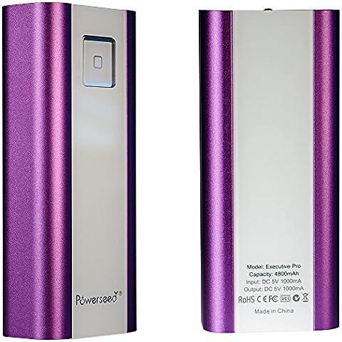 Powerseed® Executive Pro, 4.800 mAh. Caricabatterie Portatile per tutte le marche. Ricarica un iPhone 5s e un iPhone 6 per 2 volte e il Samsung Galaxy S6 per 1 volta. Compatibile con tutti i dispositivi con porta di ricarica USB. Colore: Viola