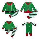 K-youth Conjunto de Familiares Ropa De Dormir Pijama de Navidad Rayas Camisetas de Manga Larga Mujer Hombre Bebé Niño Niña Mono Traje De Navidad Pijama Familia(Niño/Kid, 100)