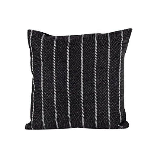 waygo Home Decor Kissen Fall Baumwolle Leinen Kissenbezug Streifen (schwarz)
