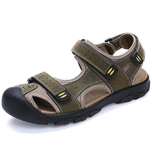 Men's High Quality Genuine Leather Cut Out Breathable Sandal green