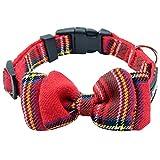 SCENEREAL CO. Plaid Hund Halsband verstellbar mit beweglicher Fliege, rot Hals Umfang 21–31cm