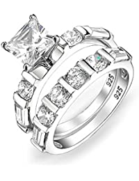 Bling Jewelry Sterling Silver 2ct Princess Cut CZ Engagement Wedding Ring Set