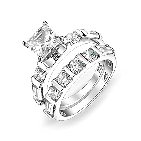Bling Jewelry Argent Sterling 2ct Princess Cut CZ Engagement mariage Jeu de bague