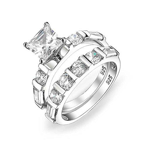 Bling Jewelry Deco Style 2 CT Square Princess Cut Solitaire Baguette Band AAA CZ Verlobung Hochzeit Ring Set für Damen Silber - Cz 2ct Ring Engagement
