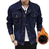 LvRao Herren Klassisch Revers Jeansjacke Warme Gefüttert Cowboy Jacke Slim Fit Denim Mäntel (Dunkel Blau, CN M)