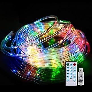 Luces LED Cadena, Impermeable IPX65, 4 modos de música diferentes, 10m, Luz Cadena, Luces Multicolor, Control Remoto, Para Exterior,Interior, decoracion navideña[Clase de eficiencia energética A+]