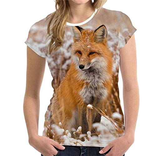KPILP T-Shirts et Tops de Sport Femme Sexy Printemps et Eté La Mode Les Loisirs Hommes et Femmes 3D Animal Impression Top T-Shirts S-2XL (Multicolore-2,FR-44/CN-S)