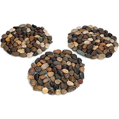 Bits And Pieces - Trittstein-Matte aus runden Kieselsteinen - Schrittstein, Trittflächen, Dekosteine fürr Ihren Garten, Gartendeko