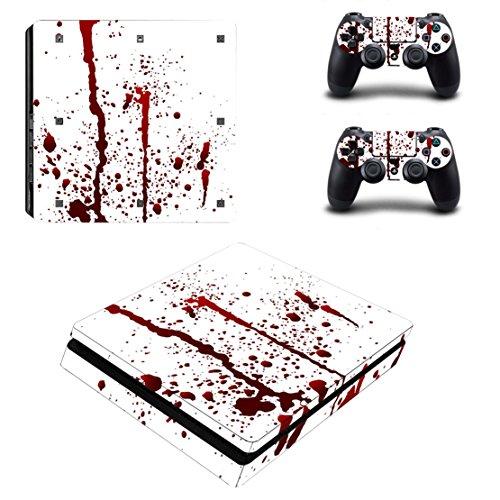 DOTBUY PS4 Slim Skin Aufkleber Sticker Design Folie schützende Haut Schale für Sony Playstation 4 Slim Konsole und 2 Dualshock Controller (Blood)
