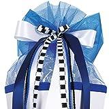 Unbekannt große 3-D Schleife - 24 cm breit u. 54 cm lang - blau weiß schwarz - für Geschenke und Schultüten - Dekoschleife / Geschenkschleife