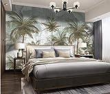 Papel Pintado Art Foto Mural Planta De Hojas Tropicales Retro Verde Papel Tapiz Fotográfico Murales Grandes Sofá Dormitorio Moderno Pintura Mural Decoración Para El Hogar - 430x300CM(LxH)-XXXL