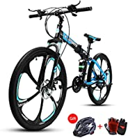 COOLBABY Mountain Bike 26 inch Folding Bikes with Iron mountain frame, Featuring Magnesium alloy one-body whee