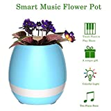 #8: Music Flowerpot,Smart Plant pots,Touch Music Plant Lamp with Rechargeable Wireless Bluetooth Speaker and LED Night Light Perfect Gift Choice (without Plant) - Blue