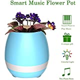 Music Flowerpot,Smart Plant pots,Touch Music Plant Lamp with Rechargeable Wireless Bluetooth Speaker and LED Night Light Perfect Gift Choice (without Plant) - Blue