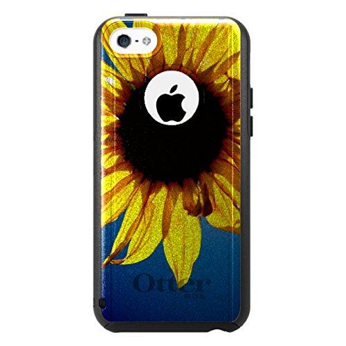 DistinctInk Fall für iPhone 5C Otterbox Commuter Gewohnheits-Fall Blau, Gelb, Sonnenblume Himmel auf-Schwarz-Fall (5c Fällen Otter Box Blau)